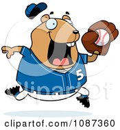 Clipart Chubby Hamster Playing Baseball Royalty Free Vector Illustration