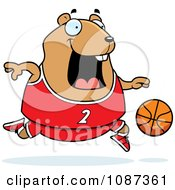 Clipart Chubby Hamster Playing Basketball Royalty Free Vector Illustration
