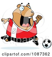 Clipart Chubby Hamster Playing Soccer Royalty Free Vector Illustration