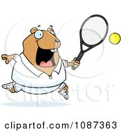 Clipart Chubby Hamster Playing Tennis Royalty Free Vector Illustration