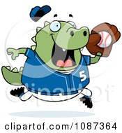 Clipart Chubby Lizard Playing Baseball Royalty Free Vector Illustration by Cory Thoman
