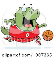 Clipart Chubby Lizard Playing Basketball Royalty Free Vector Illustration by Cory Thoman
