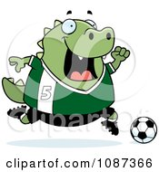 Clipart Chubby Lizard Playing Soccer Royalty Free Vector Illustration