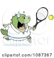 Clipart Chubby Lizard Playing Tennis Royalty Free Vector Illustration by Cory Thoman