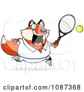 Clipart Chubby Fox Playing Tennis Royalty Free Vector Illustration by Cory Thoman
