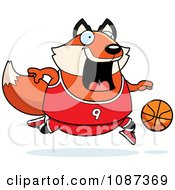 Clipart Chubby Fox Playing Basketball Royalty Free Vector Illustration by Cory Thoman
