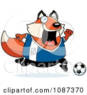 Clipart Chubby Fox Playing Soccer Royalty Free Vector Illustration by Cory Thoman