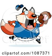 Clipart Chubby Fox Playing Baseball Royalty Free Vector Illustration by Cory Thoman