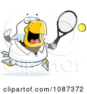 Clipart Chubby Bald Eagle Playing Tennis Royalty Free Vector Illustration by Cory Thoman