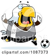Clipart Chubby Bald Eagle Playing Soccer Royalty Free Vector Illustration by Cory Thoman