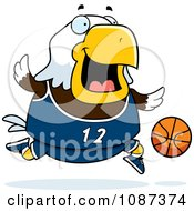 Clipart Chubby Bald Eagle Playing Basketball Royalty Free Vector Illustration by Cory Thoman