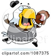 Clipart Chubby Bald Eagle Playing Baseball Royalty Free Vector Illustration