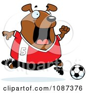 Clipart Chubby Dog Playing Soccer Royalty Free Vector Illustration