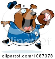 Clipart Chubby Dog Playing Baseball Royalty Free Vector Illustration