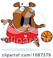 Clipart Chubby Dog Playing Basketball Royalty Free Vector Illustration by Cory Thoman