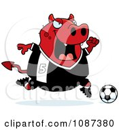 Clipart Chubby Devil Playing Soccer Royalty Free Vector Illustration