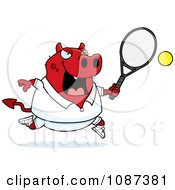 Clipart Chubby Devil Playing Tennis Royalty Free Vector Illustration