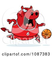 Clipart Chubby Devil Playing Basketball Royalty Free Vector Illustration