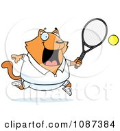 Clipart Chubby Orange Cat Playing Tennis Royalty Free Vector Illustration by Cory Thoman