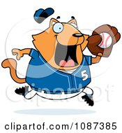 Clipart Chubby Orange Cat Playing Baseball Royalty Free Vector Illustration