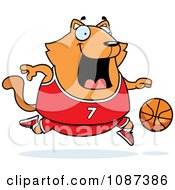 Clipart Chubby Orange Cat Playing Basketball Royalty Free Vector Illustration