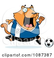 Clipart Chubby Orange Cat Playing Soccer Royalty Free Vector Illustration