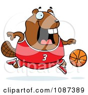 Clipart Chubby Badger Playing Basketball Royalty Free Vector Illustration