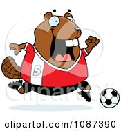 Clipart Chubby Badger Playing Soccer Royalty Free Vector Illustration