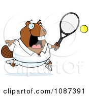 Clipart Chubby Badger Playing Tennis Royalty Free Vector Illustration