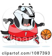 Clipart Chubby Badger Playing Basketball Royalty Free Vector Illustration by Cory Thoman