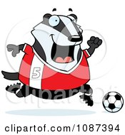 Clipart Chubby Badger Playing Soccer Royalty Free Vector Illustration by Cory Thoman