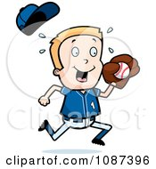 Clipart Blond Baseball Boy Catching A Ball Royalty Free Vector Illustration by Cory Thoman