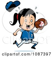 Clipart Softball Baseball Girl Catching A Ball Royalty Free Vector Illustration