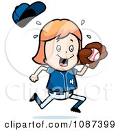 Clipart Blond Baseball Girl Catching A Ball Royalty Free Vector Illustration