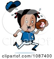 Clipart Black Baseball Girl Catching A Ball Royalty Free Vector Illustration