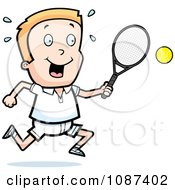 Clipart Blond Tennis Boy Swinging His Racket At The Ball Royalty Free Vector Illustration