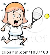 Clipart Strawberry Blond Tennis Girl Swinging Her Racket At The Ball Royalty Free Vector Illustration