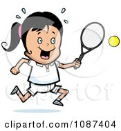 Girl Swinging Her Tennis Racket At The Ball