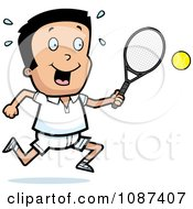 Clipart Boy Swinging His Tennis Racket At The Ball Royalty Free Vector Illustration
