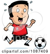 Clipart Athletic Boy Playing Soccer Royalty Free Vector Illustration