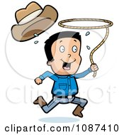 Clipart Cowboy Losing His Hat And Running With A Lasso Lariat Royalty Free Vector Illustration