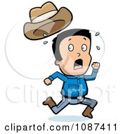 Clipart Scared Cowboy Losing His Hat While Running Away Royalty Free Vector Illustration