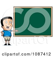Clipart Smart School Boy Presenting A Chalk Board Royalty Free Vector Illustration