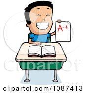 Smart School Boy Sitting At A Desk With An A Plus Report Card