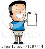 Smart School Boy Presenting His Report Card