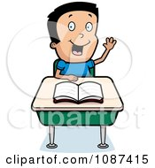 Smart School Boy Raising His Hand At A Desk