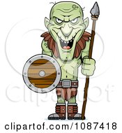 Clipart Tall Goblin Guard With A Spear And Shield Royalty Free Vector Illustration