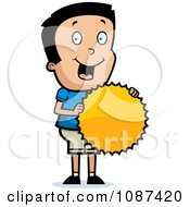 Clipart Proud Boy Holding A Burst Award Royalty Free Vector Illustration