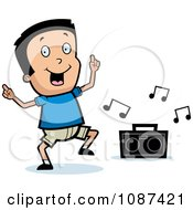 Clipart Happy Boy Dancing To Music Royalty Free Vector Illustration