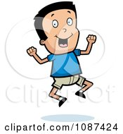 Clipart Excited Boy Jumping Royalty Free Vector Illustration
